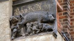 """Mittelalterliche """"Judensau"""", ein Schmaeh- u. Spottbild auf die Juden, an der Stadtkirche St. Marien in der Lutherstadt Wittenberg."""