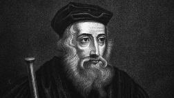 Der britische Bibelübersetzer und Kirchenreformer John Wycliff (vor 1330 - 31.12.1384; Kupferstich von James Hopwood, 1810).