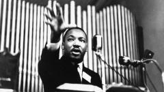Martin Luther King während einer Rede um 1966.