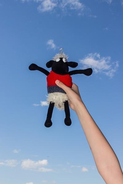 Eine Hand hält Shaun, das Schaf.