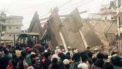 Ein zerstörtes siebenstöckiges Gebäude in der Nachbarschaft des nepalesischen CBM-Mitarbeiters Mitralal Shrestha.