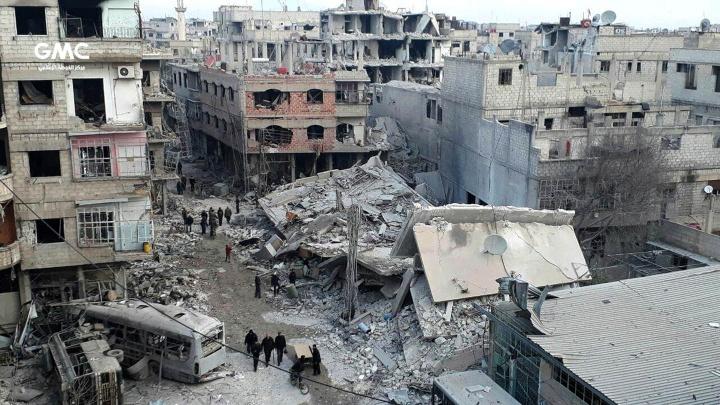 Zesrtörte Gebäude in Ghuta