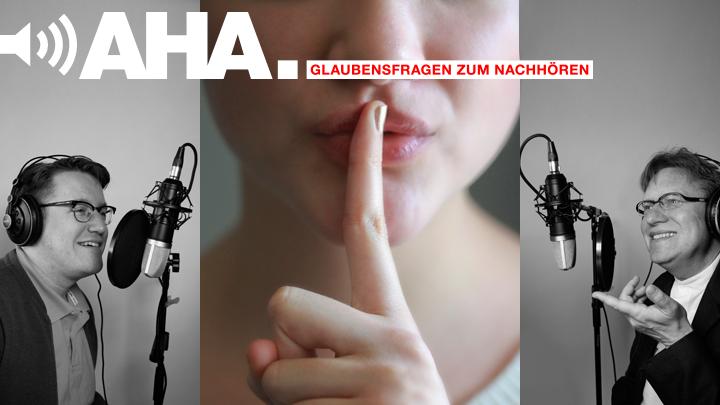 Eine Frau mahnt mit ihrem Zeigefinger vor dem Mund zur Verschwiegenheit.