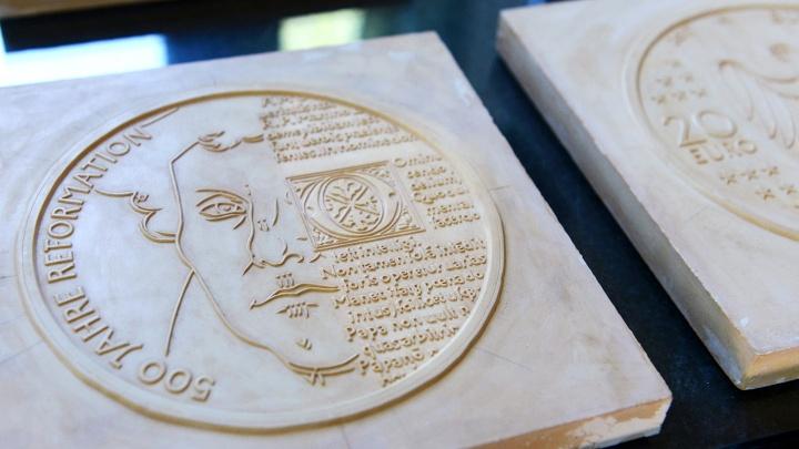 20-Euro-Münze zum 500. Reformationsjubiläeum. Die 18 Gramm schwere Sondermünze kam im ersten Halbjahr 2017 auf den Markt