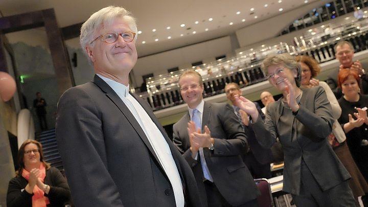 Der bayrische Landesbischof Heinrich Bedford-Strohm kurz nach seiner Wiederwahl zum Vorsitzenden des Rates der EKD