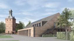 Entwurf für den Kirchenneubau in Kleinmachnow.