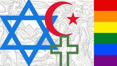 Montage aus religiösen Symbolen, Regenbogenfahne und mittelalterlicher Darstellung eines Teufelspaktes